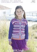Sirdar Girls Cardigan Wash n Wear Knitting Pattern 2421  DK