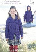 Sirdar Girls Hooded Cardigan Wash 'n' Wear Knitting Pattern 2422  DK