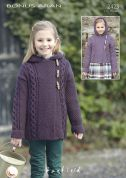 Hayfield Girls Hooded Coats Bonus Knitting Pattern 2423  Aran