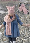 Sirdar Girls Hat, Scarf & Mittens Supersoft Knitting Pattern 2428  Aran