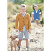 Sirdar Boys Cardigan & Waistcoat Supersoft Knitting Pattern 2435  Aran