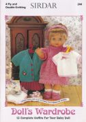 Sirdar Doll's Wardrobe 244 Knitting Pattern Book  4 Ply, DK