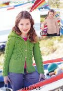 Sirdar Girls Hooded Sweater & Jacket Supersoft Knitting Pattern 2451  Aran