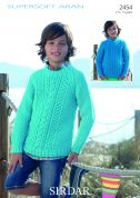Sirdar Boys Sweater Supersoft Knitting Pattern 2454  Aran