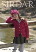 Sirdar Girls Cardigan & Hat Supersoft Knitting Pattern 2468  Aran