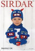 Sirdar Childrens Novelty Hat, Gloves & Scarf Snuggly Knitting Pattern 2471  DK