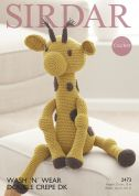 Sirdar Giraffe Cuddly Toy Wash n Wear Crochet Pattern 2473  DK
