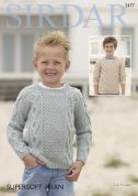 Sirdar Boys Sweaters Supersoft Knitting Pattern 2477  Aran