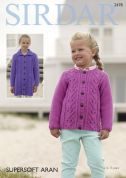 Sirdar Girls Cardigans Supersoft Knitting Pattern 2478  Aran