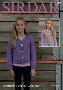 Sirdar Girls Cardigans Harrap Tweed Knitting Pattern 2481  Chunky