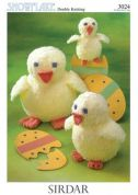 Sirdar Easter Chicken Toys Snowflake & Snuggly Knitting Pattern 3024  4 Ply, DK