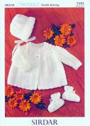 Sirdar Baby Matinee Coat, Hat & Booties Knitting Pattern 3191  DK