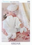Sirdar Baby Coat, Hat, Blanket, Mittens & Booties Pearls Knitting Pattern 3908  DK