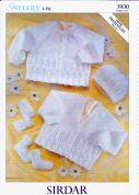 Sirdar Baby Cardigans, Hat, Mittens & Booties Knitting Pattern 3930  4 Ply