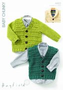 Hayfield Baby Cardigans & Waistcoat Knitting Pattern 4403  Chunky