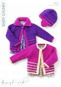 Hayfield Baby Cardigans & Hat Knitting Pattern 4407  Chunky