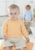Sirdar Baby Sweaters & Blanket Knitting Pattern 4439  4 Ply