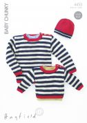 Hayfield Baby Sweater & Hat Knitting Pattern 4453  Chunky
