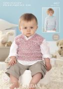 Sirdar Baby Sweater & Tank Top Peekaboo Knitting Pattern 4457  DK