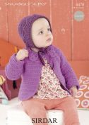 Sirdar Baby Coat & Bonnet Crochet Pattern 4478  4 Ply