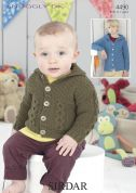 Sirdar Baby Hooded Jackets Knitting Pattern 4490  DK