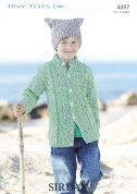 Sirdar Boys Cardigan & Hat Tiny Tots Knitting Pattern 4497  DK