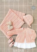 Sirdar Baby Matinee Coat, Blanket, Bonnet & Booties Knitting Pattern 4509  4 Ply