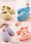 Sirdar Baby Shoes Crochet Pattern 4509  4 Ply