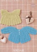 Sirdar Baby Matinee Coat & Angel Top Crochet Pattern 4510  4 Ply