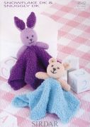 Sirdar Baby Bear & Rabbit Comfort Toys Knitting Pattern 4542  DK