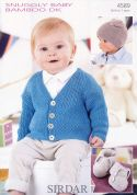 Sirdar Baby Cardigan, Booties & Hat Knitting Pattern 4589  DK