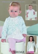 Sirdar Baby Cardigan & Pinafore Dress Snuggly Spots Knitting Pattern 4602  DK