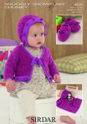 Sirdar Baby Cardigans, Blanket, Bonnet & Shoes Snowflake Knitting Pattern 4650  Chunky