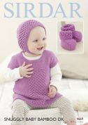 Sirdar Baby Dress, Bonnet & Booties Baby Bamboo Knitting Pattern 4669  DK