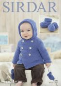 Sirdar Baby Coat, Mittens & Booties Snuggly Knitting Pattern 4706  DK
