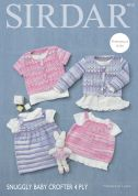 Sirdar Baby Cardigans, Top & Dress Baby Crofter Knitting Pattern 4713  4 Ply