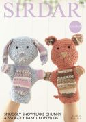 Sirdar Cat & Rabbit Toy Hand Puppets Snowflake & Baby Crofter Crochet Pattern 4728  Chunky, DK