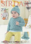 Sirdar Baby & Boys Sweater, Hat & Blanket Baby Bamboo Knitting Pattern 4731  DK