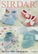 Sirdar Baby Bootees & Shoes Baby Bamboo Knitting Pattern 4734  DK