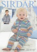 Sirdar Baby Onesie & Hooded Jacket Baby Crofter Knitting Pattern 4780  Chunky