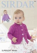 Sirdar Baby & Girls Cardigans Supersoft Knitting Pattern 4783  Aran