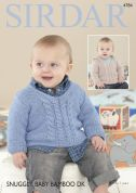 Sirdar Baby Sweaters Baby Bamboo Knitting Pattern 4784  DK