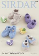 Sirdar Baby Shoes & Booties Baby Bamboo Knitting Pattern 4786  DK