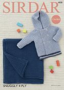 Sirdar Baby Jacket & Blanket Snuggly Crochet Pattern 4808  4 Ply