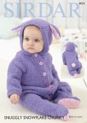 Sirdar Baby All In One Onesie Snowflake Knitting Pattern 4824  Chunky