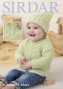 Sirdar Baby Sweater, Hat & Blanket Supersoft Knitting Pattern 4829  Aran
