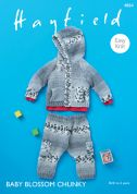 Hayfield Baby Jacket & Trousers Baby Blossom Knitting Pattern 4864  Chunky