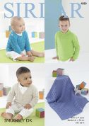 Sirdar Baby Sweaters, Cardigan & Blanket Snuggly Knitting Pattern 4880  DK