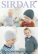 Sirdar Baby Sweaters & Hats Baby Bamboo Knitting Pattern 4889  DK