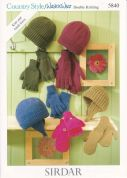 Sirdar Family Hats, Gloves & Mittens Country Style Knitting Pattern 5840  DK